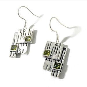 Green Silver Geometric Drop Dangle Earrings